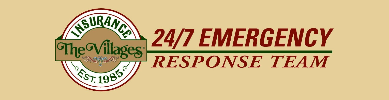 The Villages Insurance logo, 24/7 Emergency Response Team