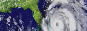 overview of large hurricane heading towards the eastern coast of Florida