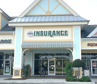 Front entrance and awning to the Villages Insurance Pinellas Plaza office