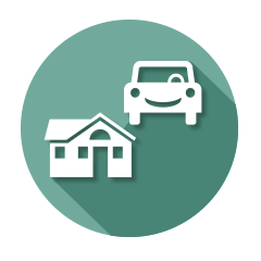 icon of car and house