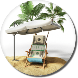 stack of $100 bills sitting under a beach cabana