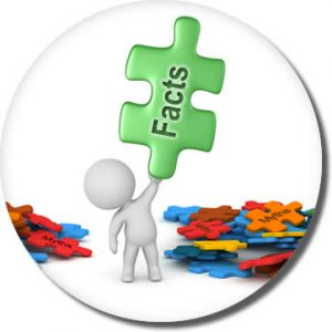 """3-d icon of person holding a puzzle piece that reads """"facts"""""""