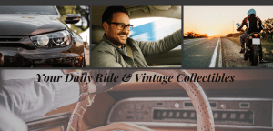 multiple pictures: front of car, man smiling while driving a car, motorcycle with driver parked on side of road, close up of hand on a car steering wheel and dashboard