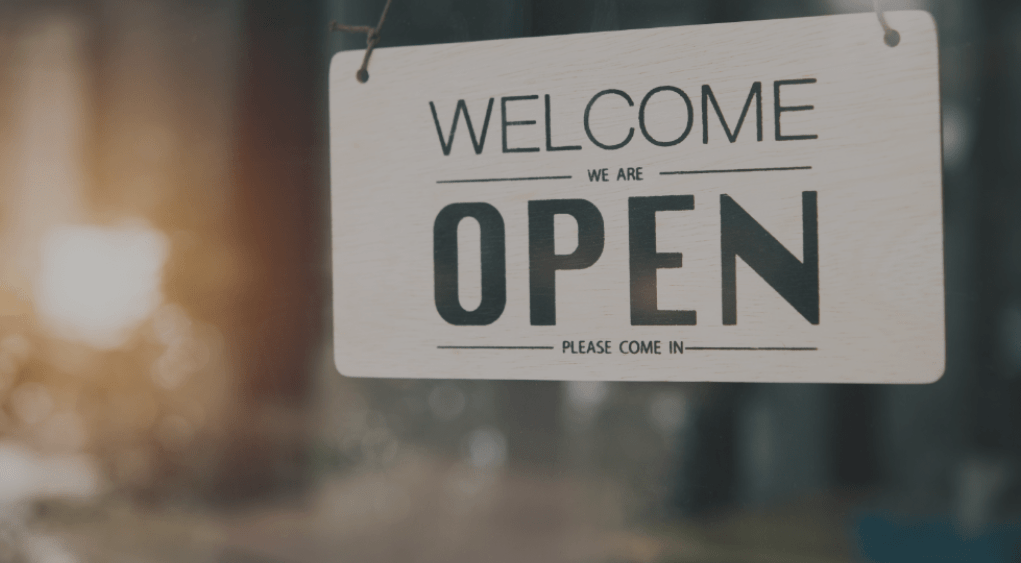 Welcome Sign, we are open, Please come in