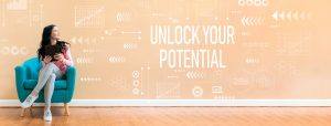 Unlock your potential with woman using a tablet