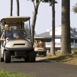 People driving golf carts on path