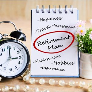 Retirement to-do list with picture of alarm clock and flowers